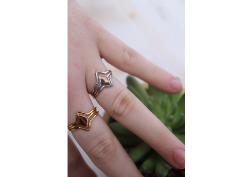 Gold Dipped Geo Ring Stack