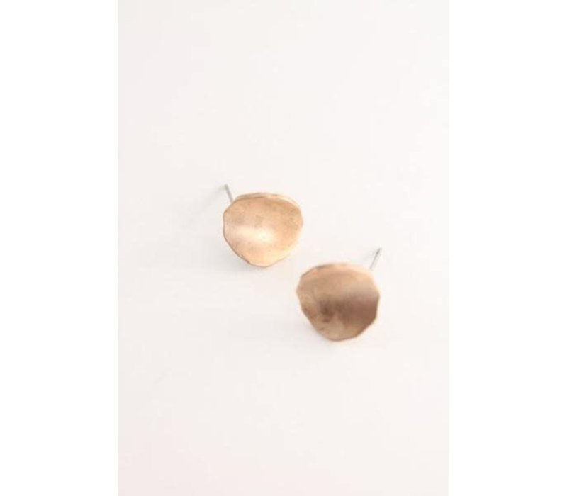 Hammered Gold Raw Disc Earrings