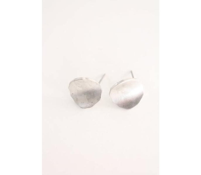 Hammered Silver Raw Disc Earrings