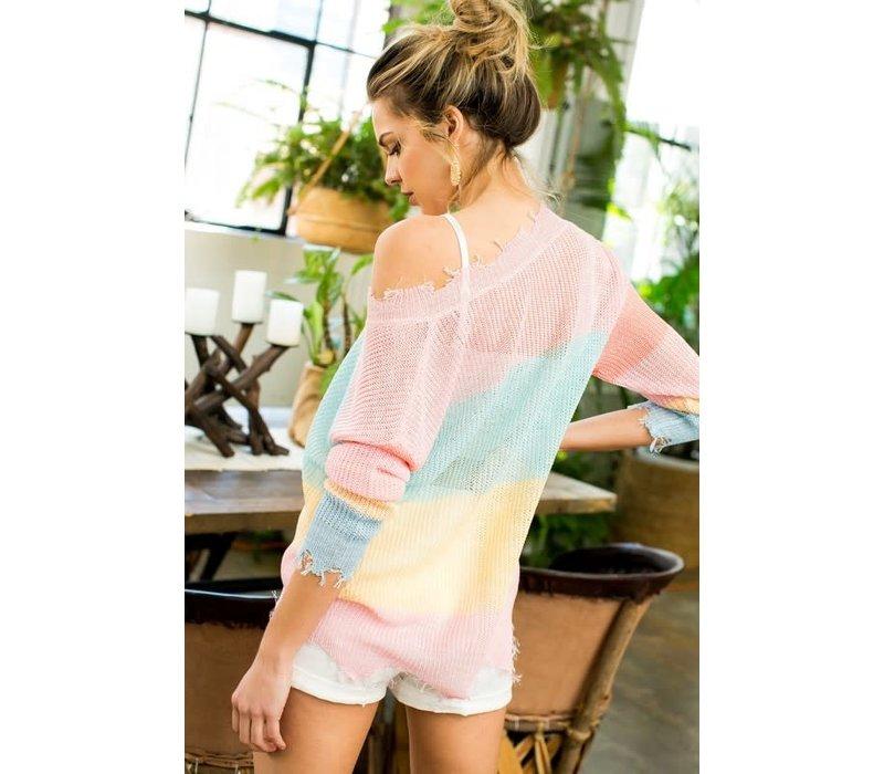 Spring Frayed Sweater