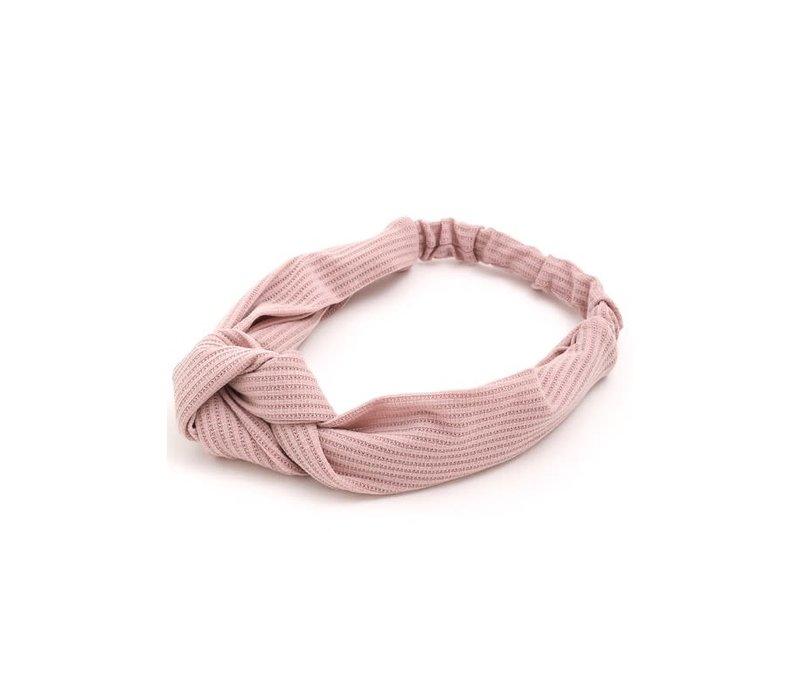 Pink Ribbed Turban Headband