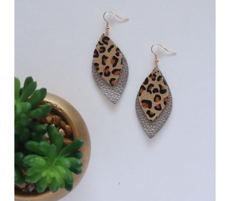 Vegan Leather Leopard Earrings