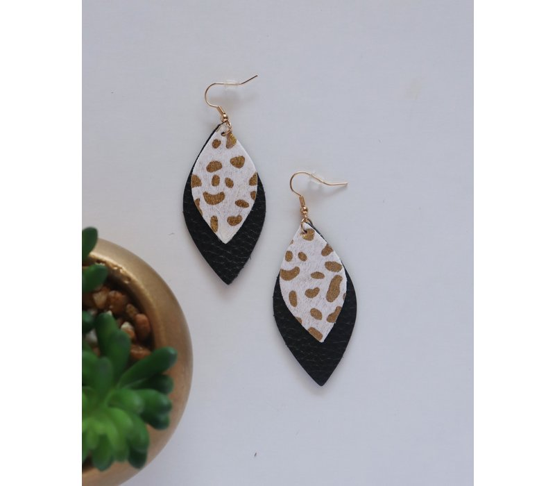 Vegan Leather  Gold Foil Earrings