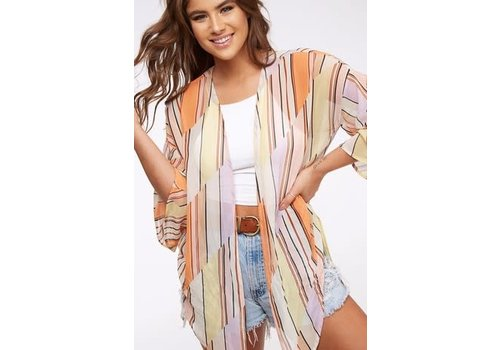 Retro Stripe Kimono