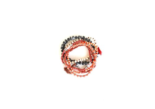 Ready Set Race Coral Bracelet Stack