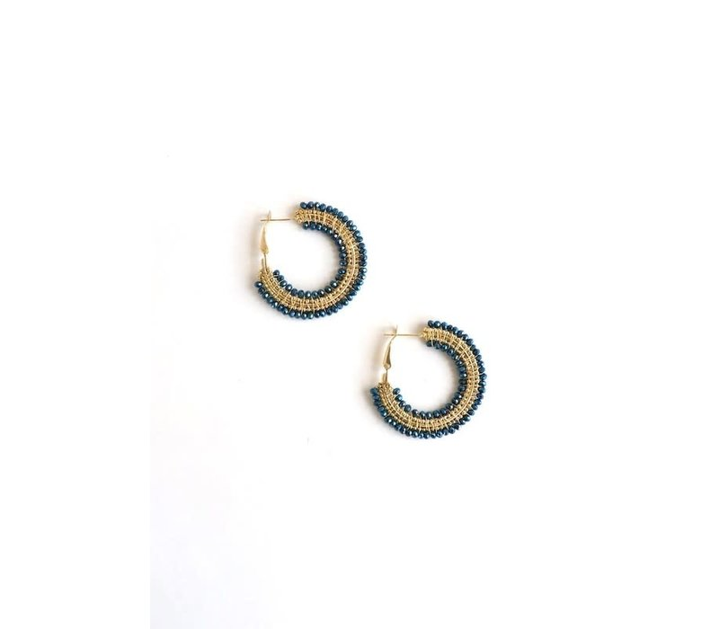 Beaded Blue & Metallic Hoop Earrings