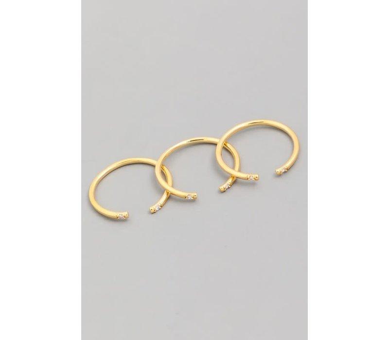 14k Gold Dip Open Spike Adjustable Ring Set