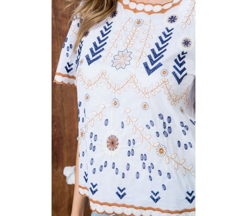 Bohemian Collect Embroidered Blouse