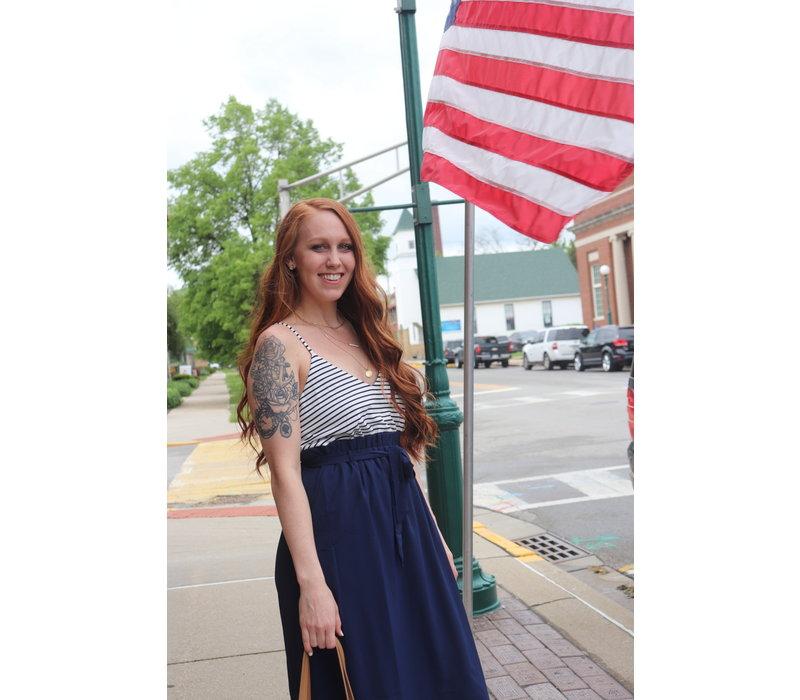 Nautical Stripe Ruffled Top Maxi Dress