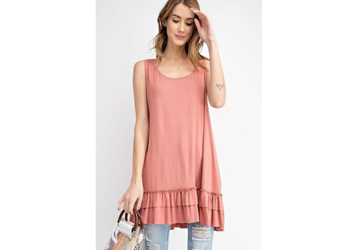 NEW Ruffle Tank in Pink Brick