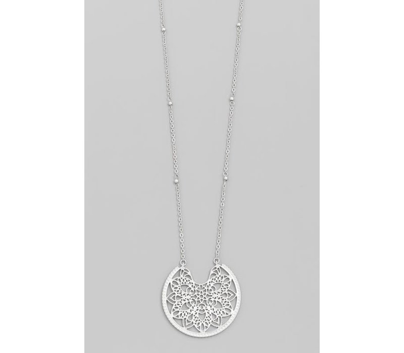 Floral Medallion Necklace (in Silver & Gold)