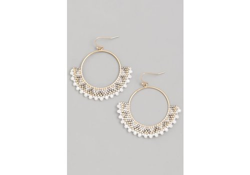 White Beaded Boho Hoop Earrings