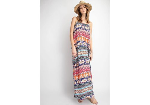 Boho Tribal Print Maxi Dress