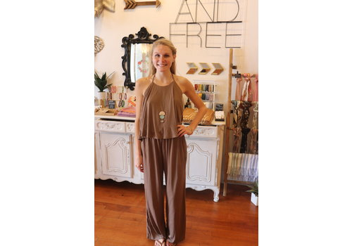 Mocha Halter Neck Wide Leg  Jumpsuit