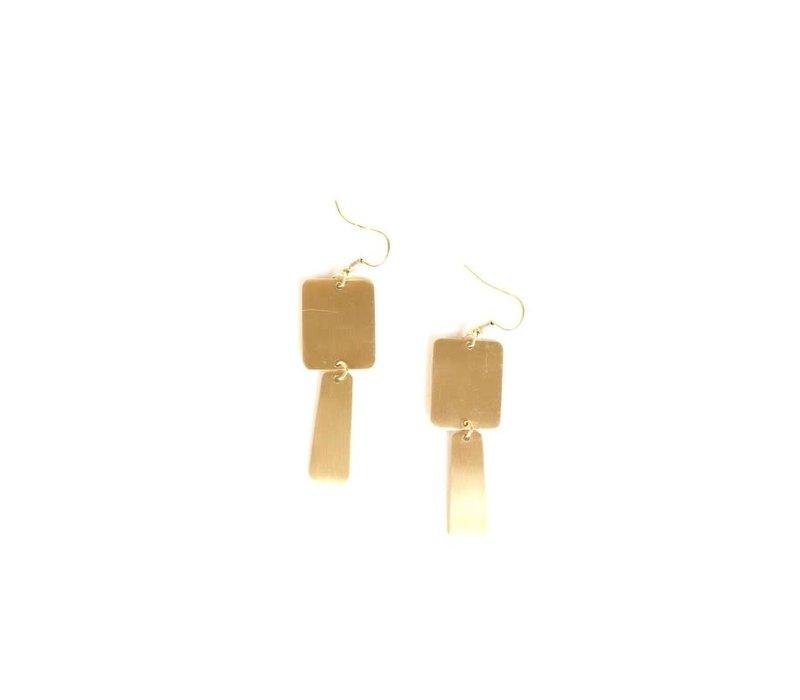 Boho Brass Rectangle Earrings