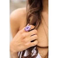 Agate Stone Adjustable Ring - Mint & Purple