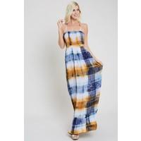 Bohemian Collect Halter Tie Dye Maxi Dress in Mustard & Blue
