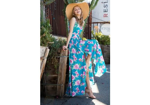 Tropical Floral & Turquoise Maxi Dress