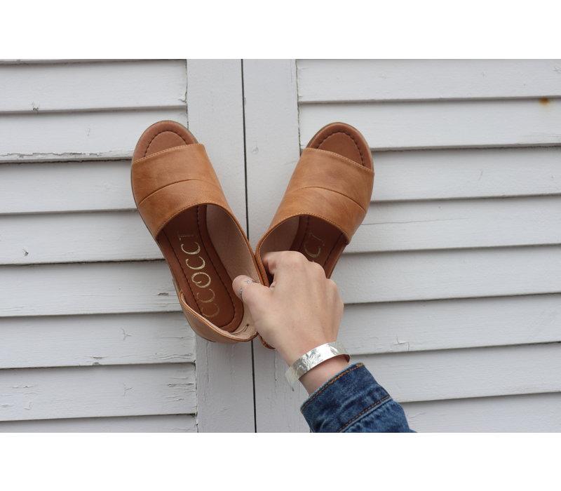 Chestnut Peep Toe Mules