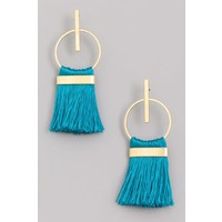 Circle Drop Tassel Earrings (3Colors)