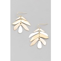 Metal Drop Leaf Earrings (3 color choices)