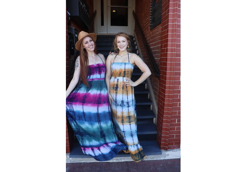 Bohemian Collect Halter Tie Dye Maxi Dress in Pink & Blue