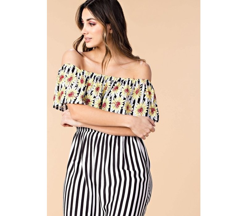 Sunflowers & Stripe Off Shoulder Maxi Dress