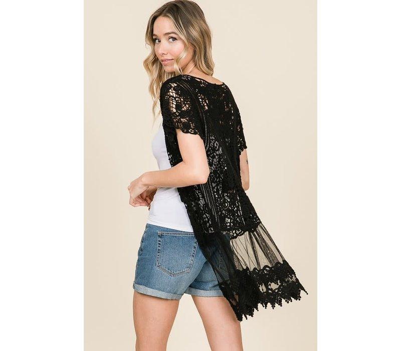 Black Crochet Lace Kimono Cardigan