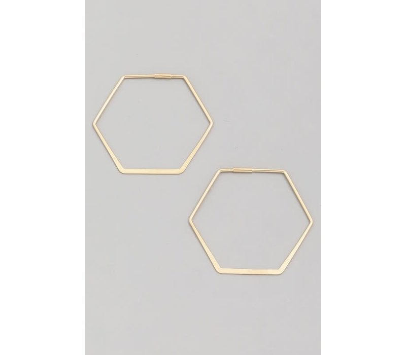 Gold Dipped Hexagon Earrings