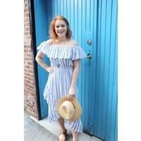 Nautical Off Shoulder Stripe Midi Dress