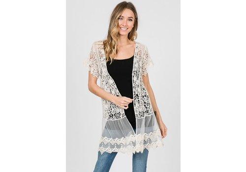 Natural Crochet Lace Kimono Cardigan