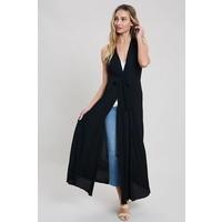 Black Duster Kimono Vest