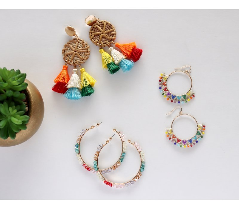Rattan & Rainbow Tassel Earrings