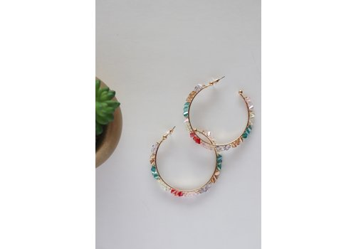 Rainbow Gemstone Hoop Earrings