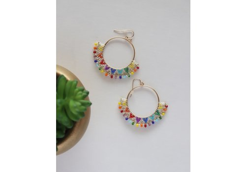 Rainbow Beaded Boho Earrings