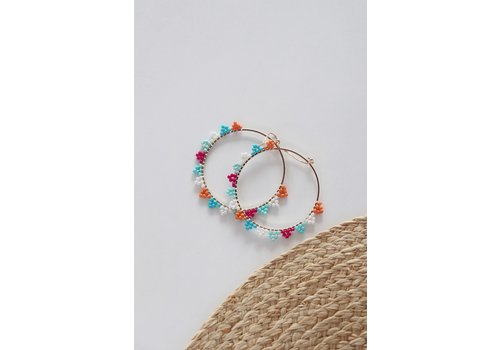 Summer Beaded Hoop Earrings
