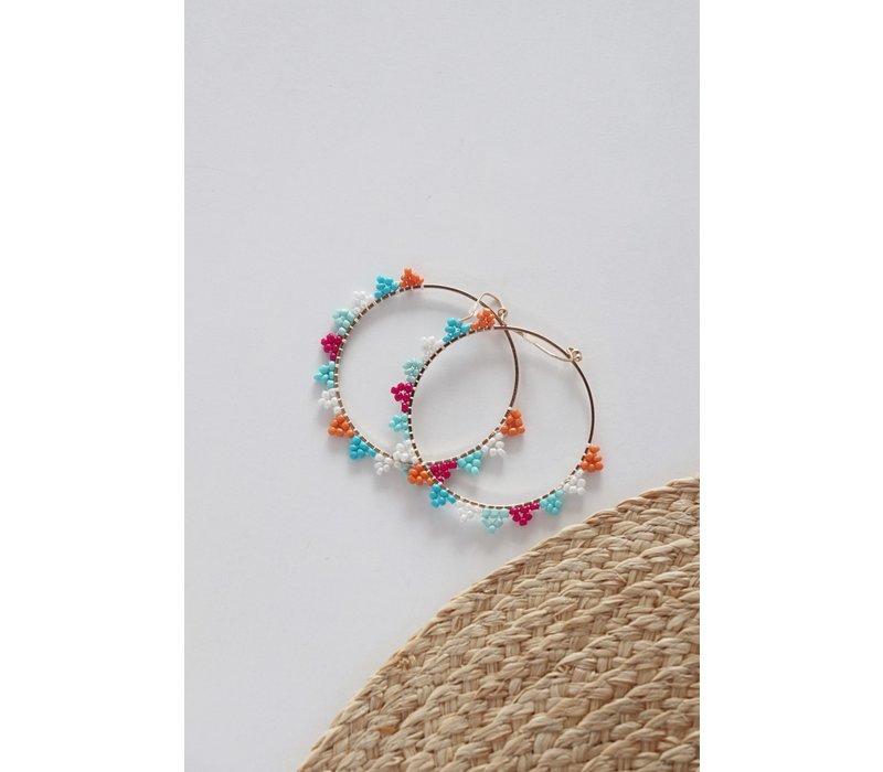 Summer Beaded Hoop Earrings