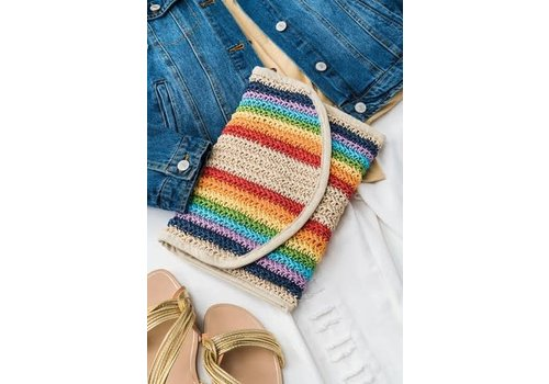 Handmade Rainbow Stripe Rattan Bag