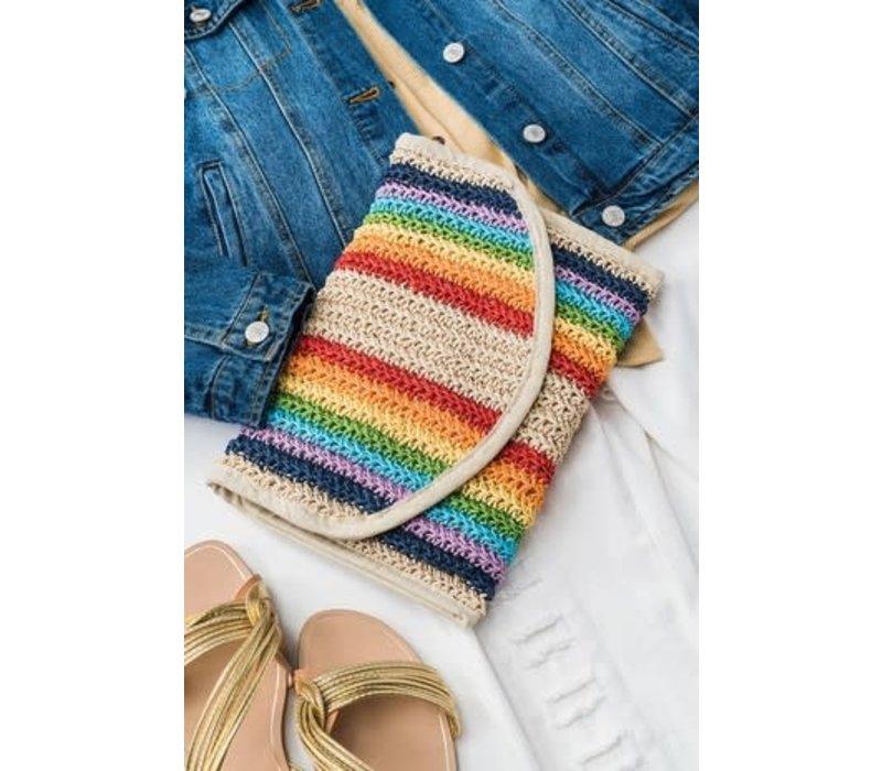 Handmade Rainbow Stripe Rattan Clutch