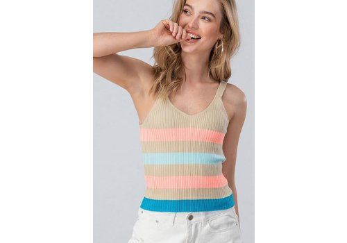 Striped Summer Ribbed Sweater Tank