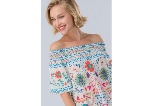 White Botanical Off Shoulder Top