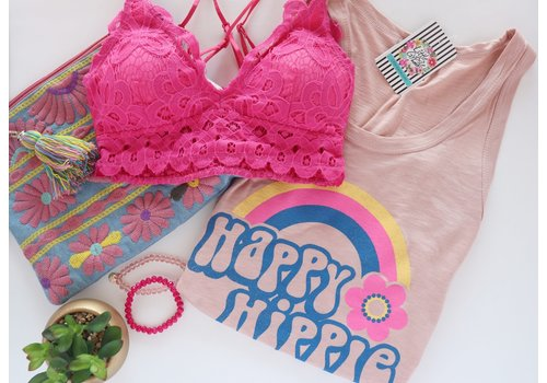 Hot Pink Scalloped Lace Bralette