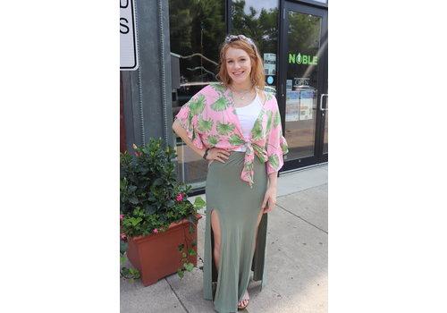 Pink Palm Frond Kimono