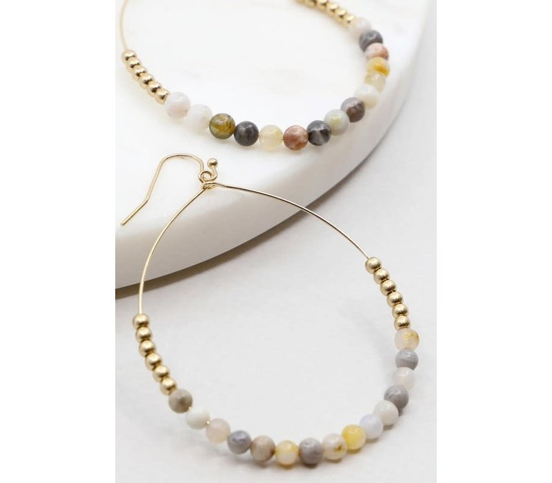 Colorful Beaded Hoops (4 Color Choices)