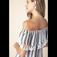 Off Shoulder Stripe & Tassel Top