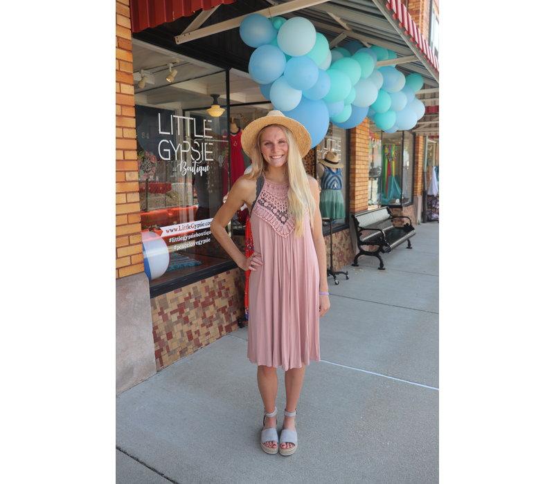 Muave Crochet Halter Dress