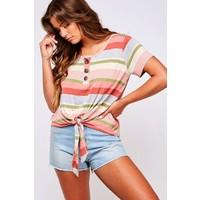 Stripe Knit Front Tie Top