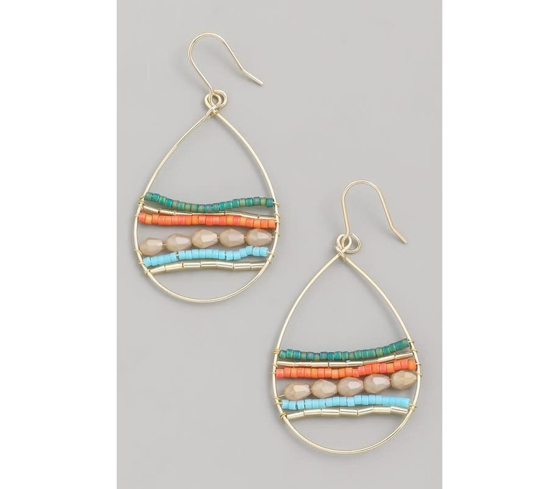 Colorful Beaded Tear Drop Hoop Earrings