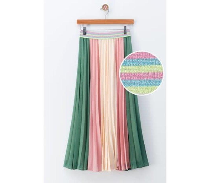 Summer Color Block Pleated Midi Skirt