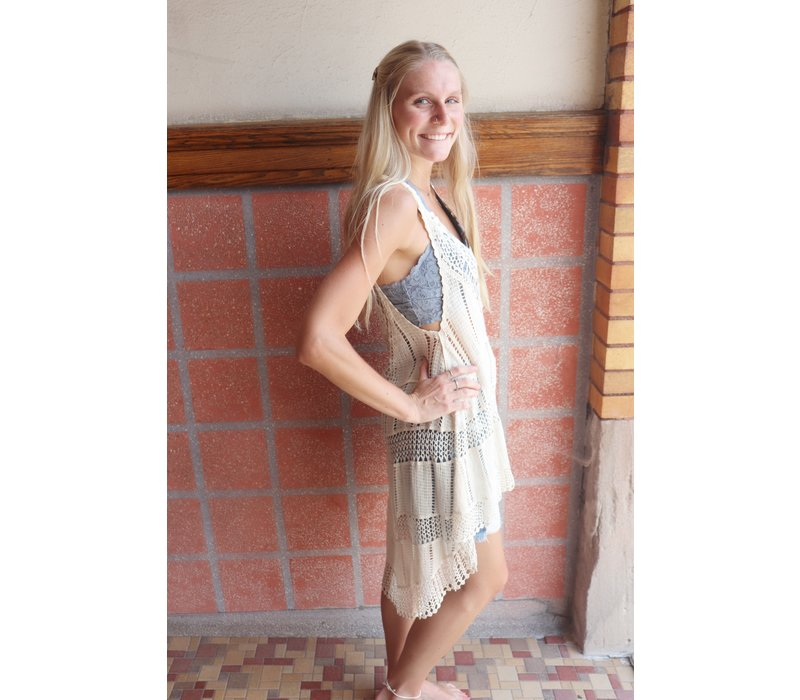 Boho Lace Knit Long Tanks